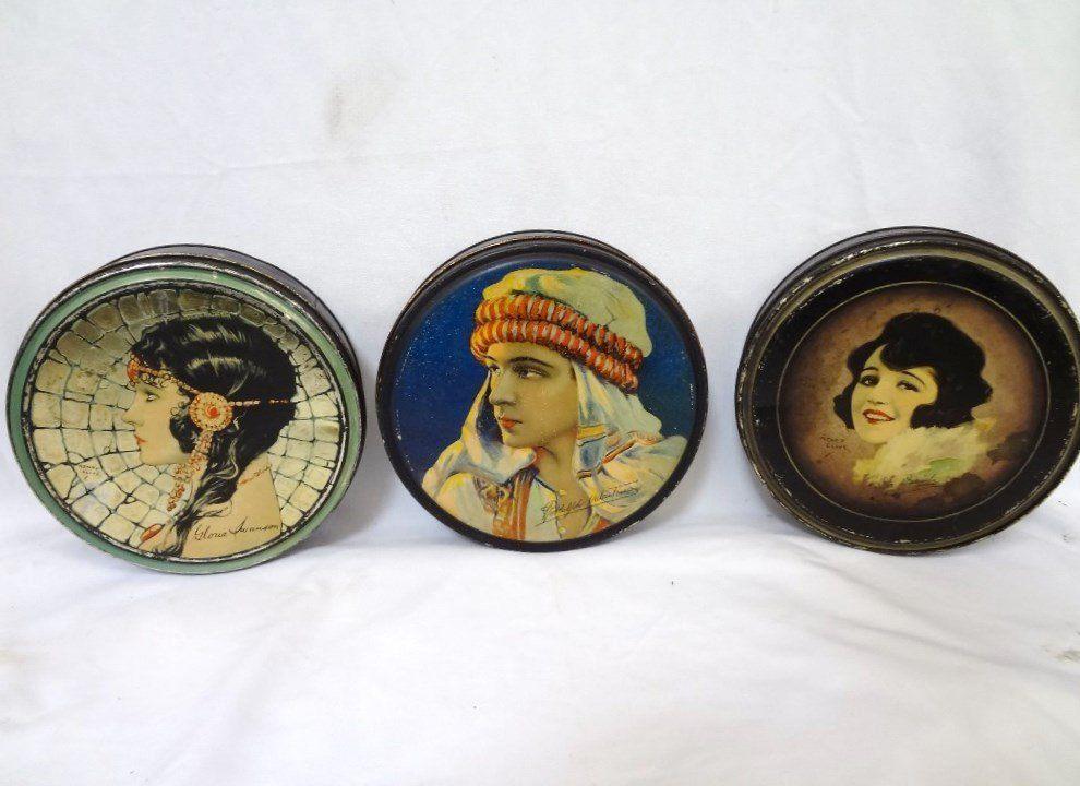 Vintage 1920's Lidded Tins: Artwork Henry Clive: