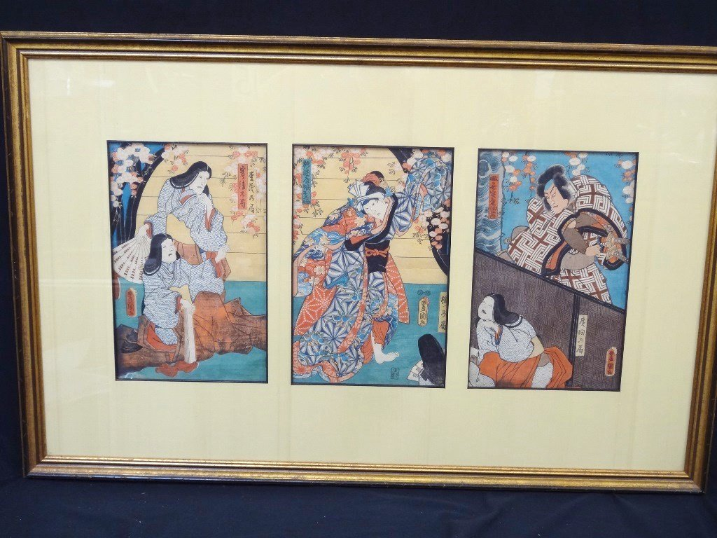 Japanese Woodblocks Matted and Framed (3) Samurai and