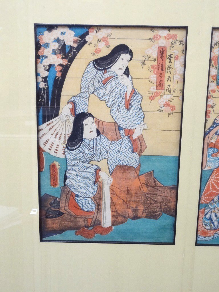 Japanese Woodblocks Matted and Framed (3) Samurai and - 2