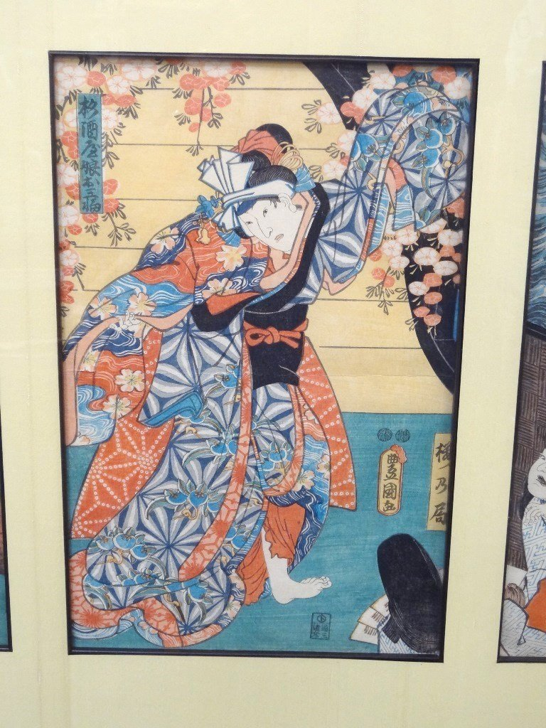 Japanese Woodblocks Matted and Framed (3) Samurai and - 3