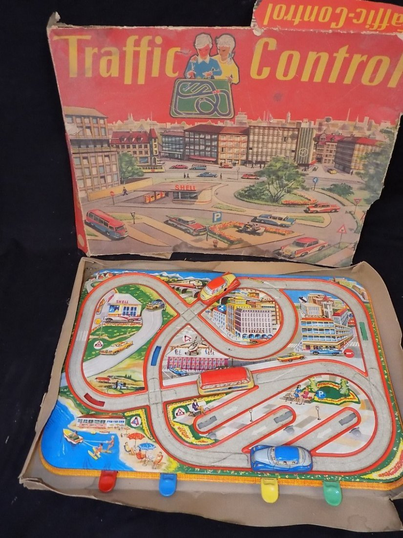 1950's Traffic Control 3 Car Tin Litho Game by