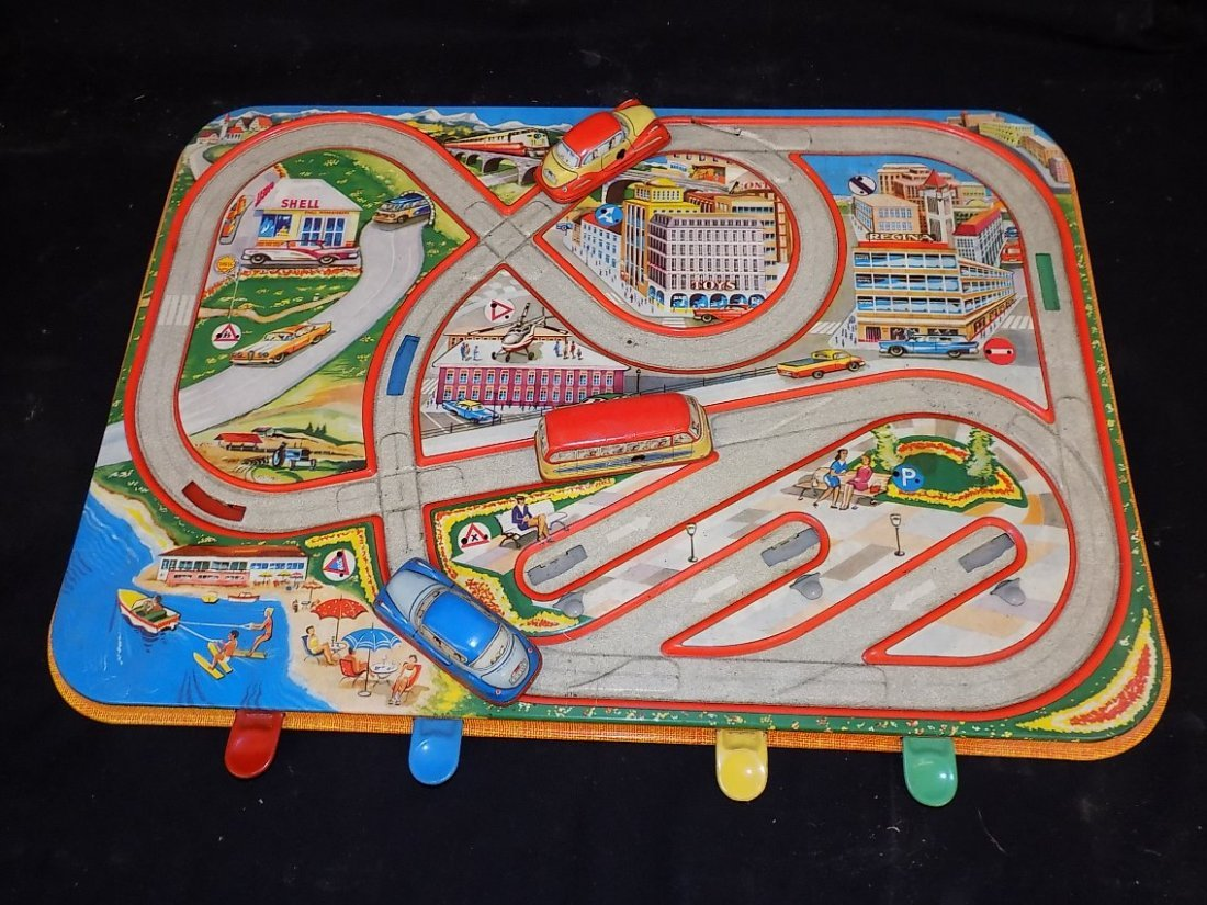 1950's Traffic Control 3 Car Tin Litho Game by - 2