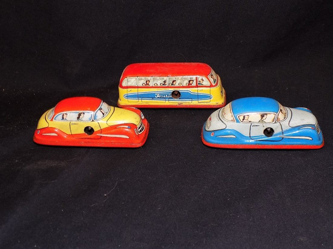 1950's Traffic Control 3 Car Tin Litho Game by - 4