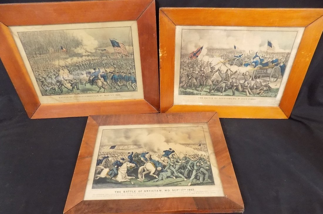 Early Currier & Ives Hand Colored Civil War Prints
