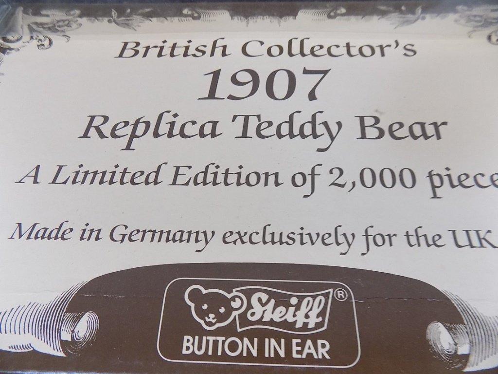 STEIFF BRITISH COLLECTOR'S 1907 REPLICA TEDDY BEAR LE - 6
