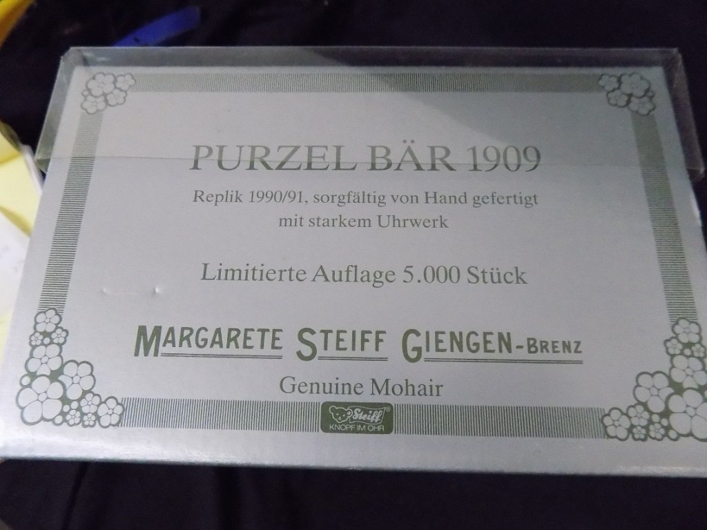 Steiff - Purzel Bar Somersault Bear 1909, in box, with - 2