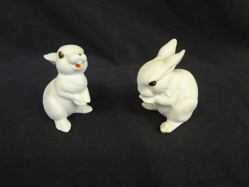 (2) Bunny Kaiser West Germany Bisque Porcelain
