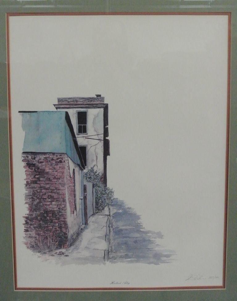 """George Caso """"Horlbeck Alley"""" Pen & Watercolor"""