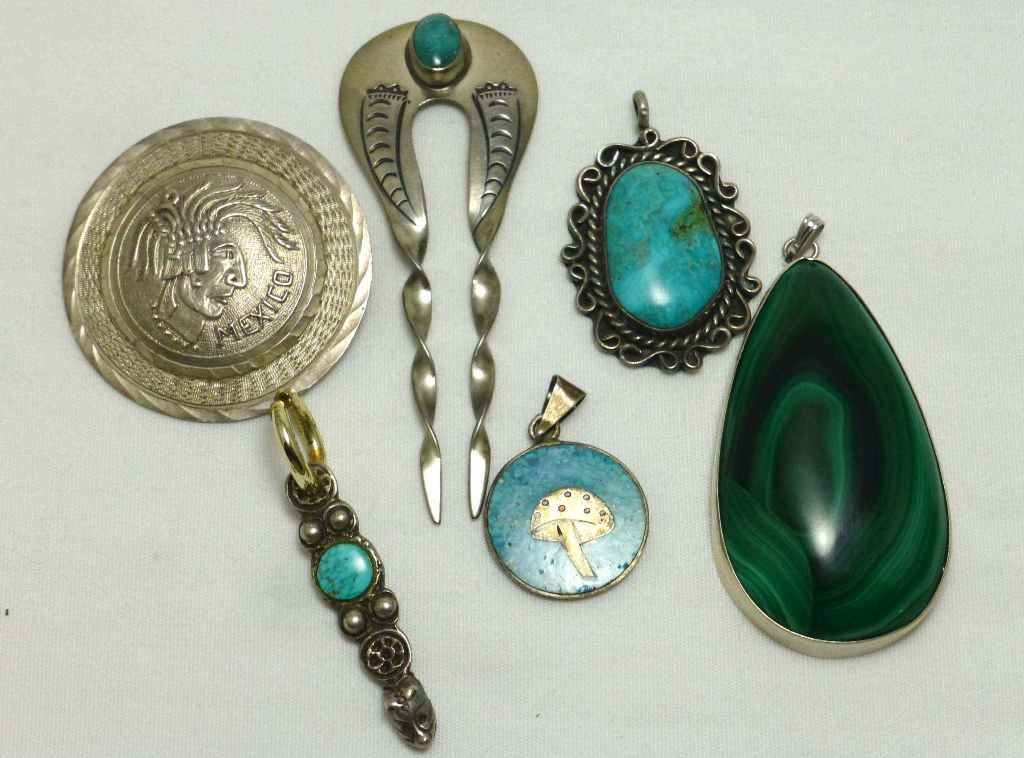 Collection of 6 Mexico Sterling Pendants Turquoise