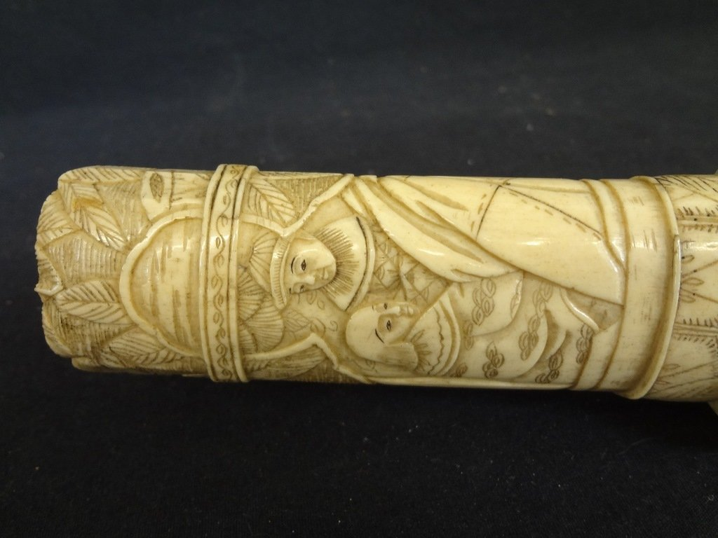 Knife and Scabbard Carved Bone Highly Detailed Oriental - 2