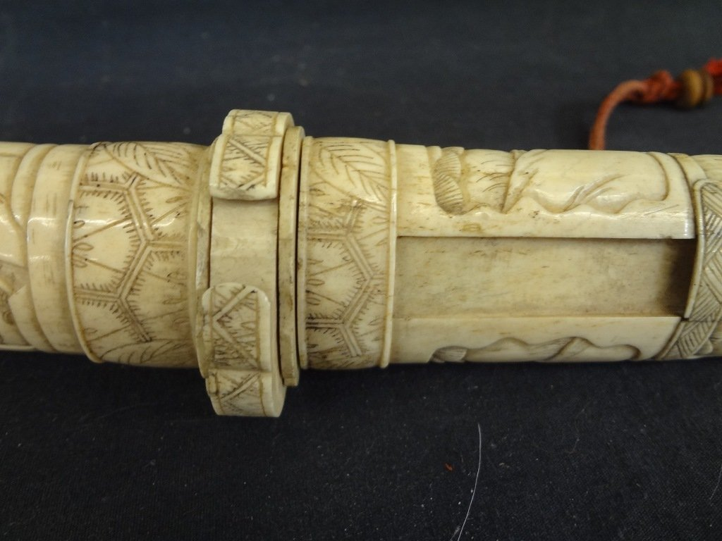 Knife and Scabbard Carved Bone Highly Detailed Oriental - 3