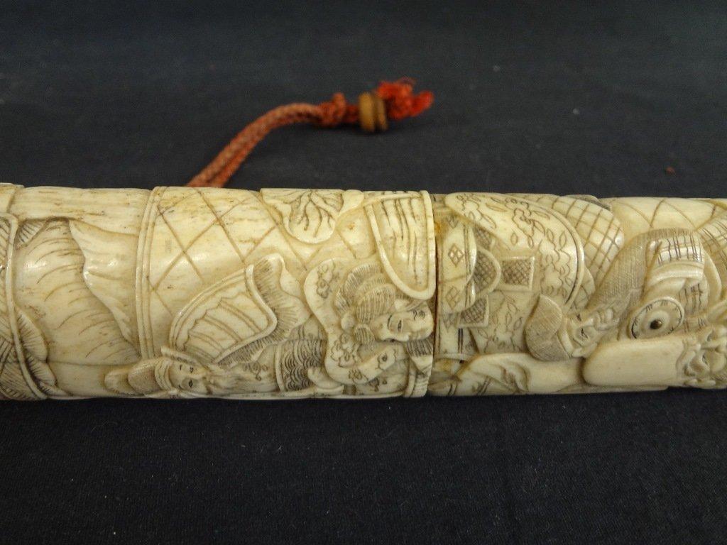Knife and Scabbard Carved Bone Highly Detailed Oriental - 4