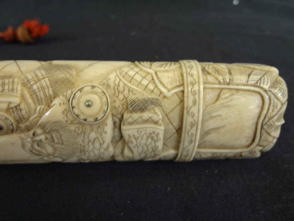 Knife and Scabbard Carved Bone Highly Detailed Oriental - 5