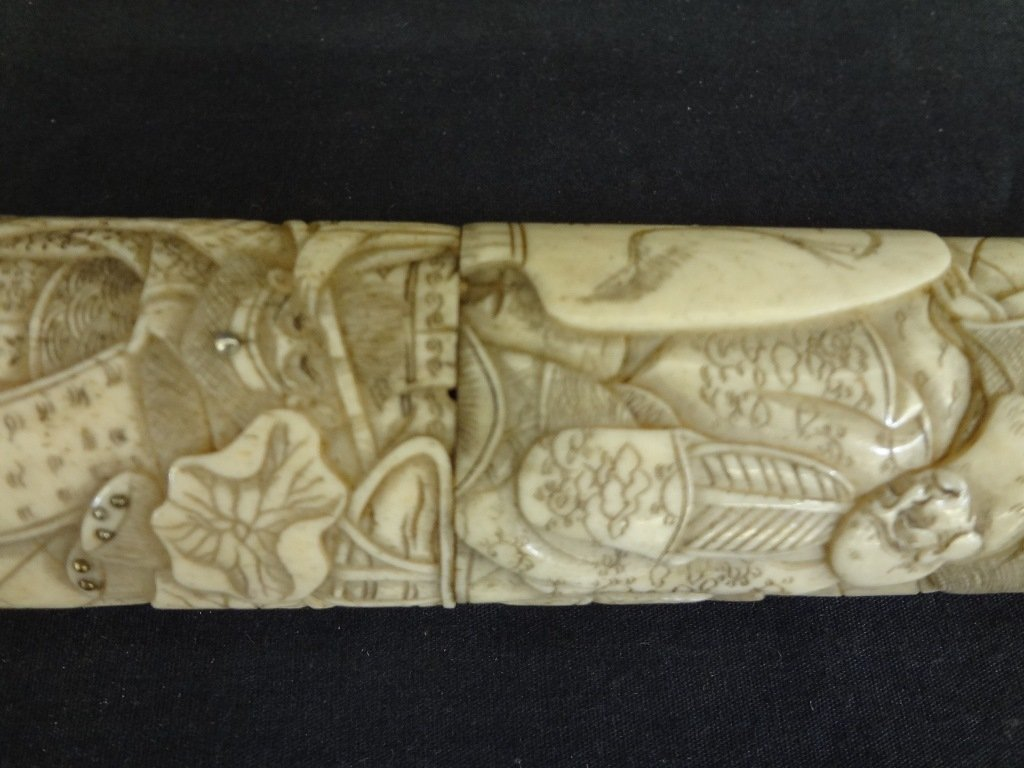 Knife and Scabbard Carved Bone Highly Detailed Oriental - 8