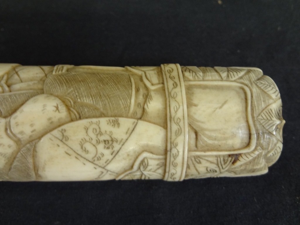 Knife and Scabbard Carved Bone Highly Detailed Oriental - 9