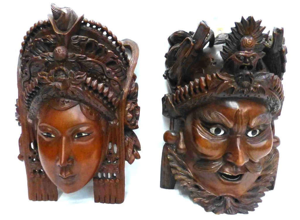 Chinese Carved Rosewood Emperor & Empress Masks
