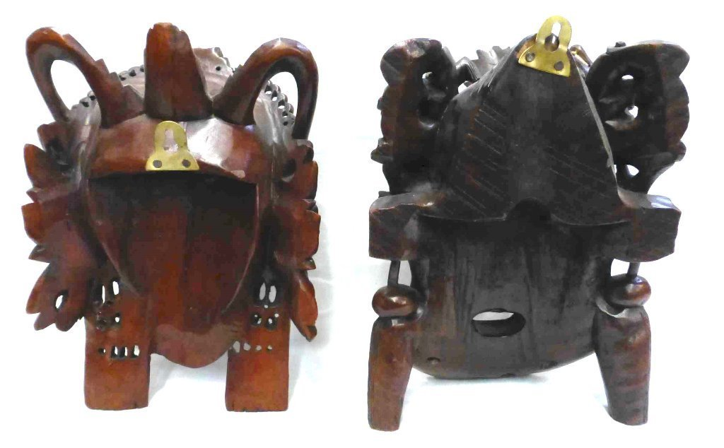 Chinese Carved Rosewood Emperor & Empress Masks - 3