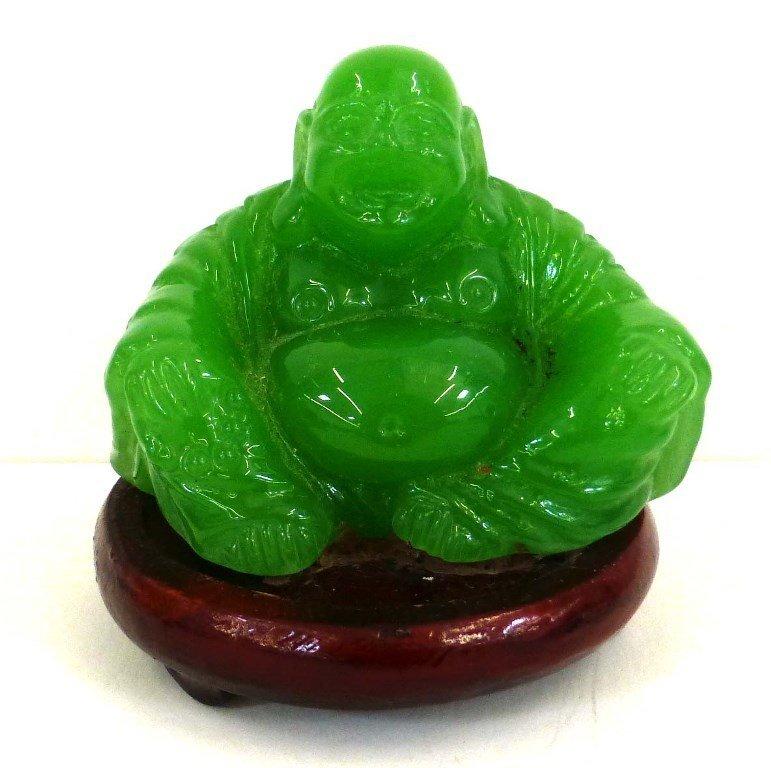 Bright Green Jade Smiling Buddha