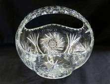 "Huge 11"" Cut Bohemian Crystal Handled Basket"