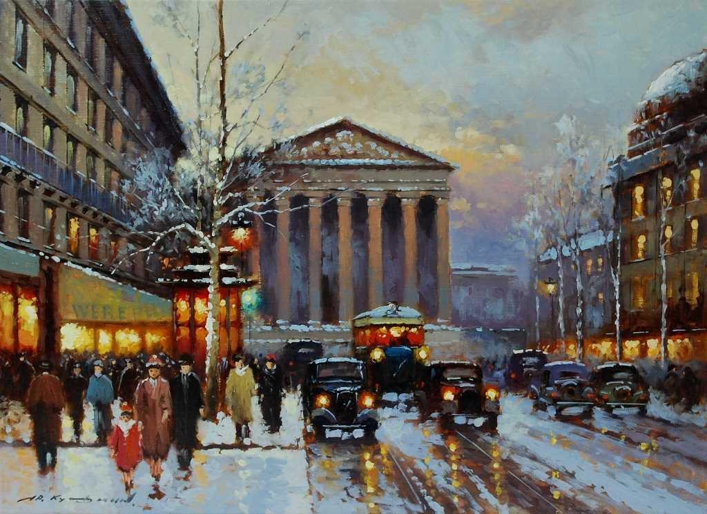 Yuri Kuzmin, Russian b 1949, Oil, Paris in Winter
