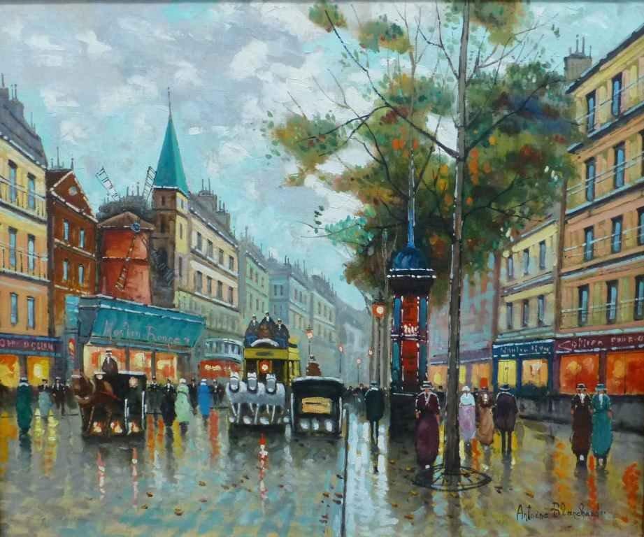 Parisian Scene Oil on Canvas After Antoine Blanchard