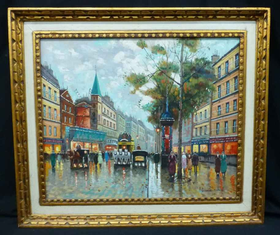 Parisian Scene Oil on Canvas After Antoine Blanchard - 2