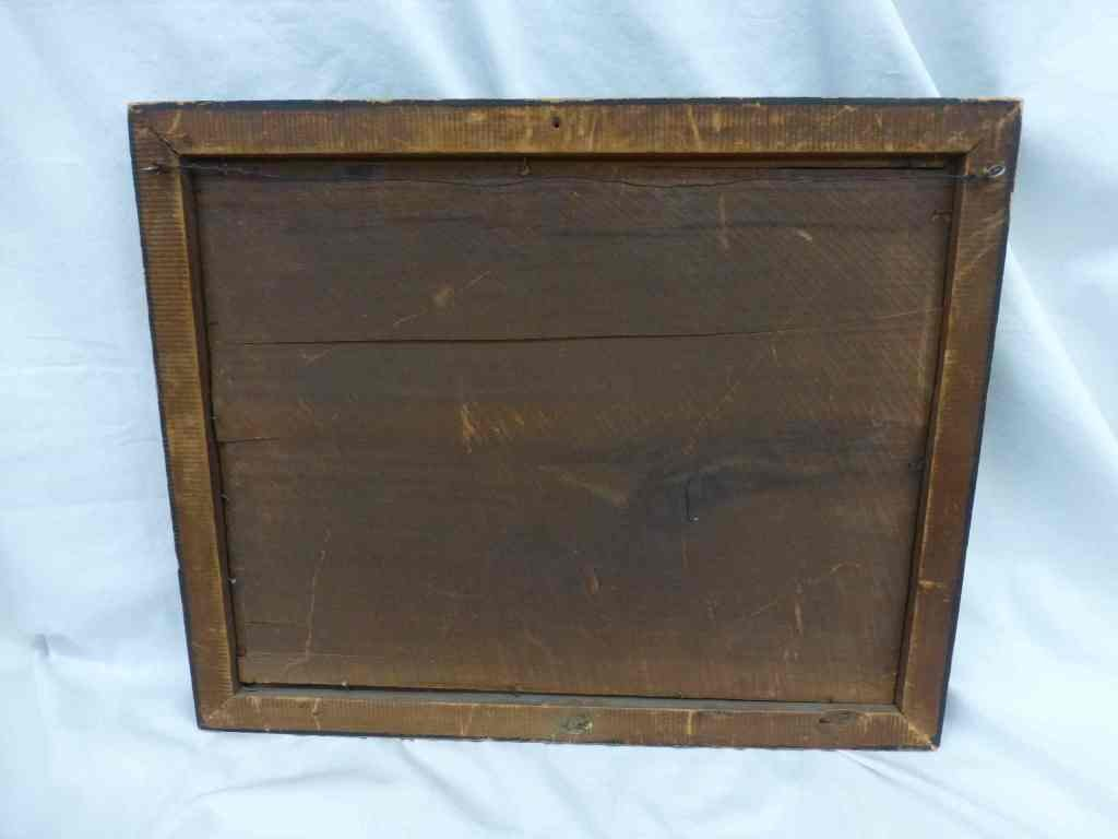 19th c Handpainted Letter box on Tin Wall Pocket - 3