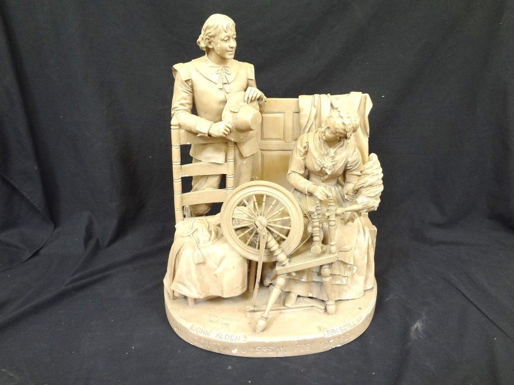 """John Rogers Group Plaster Sculpture """"Courtship of Miles"""