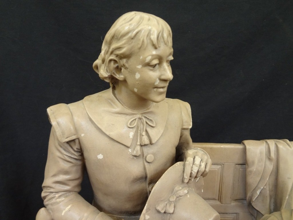"John Rogers Group Plaster Sculpture ""Courtship of Miles - 7"