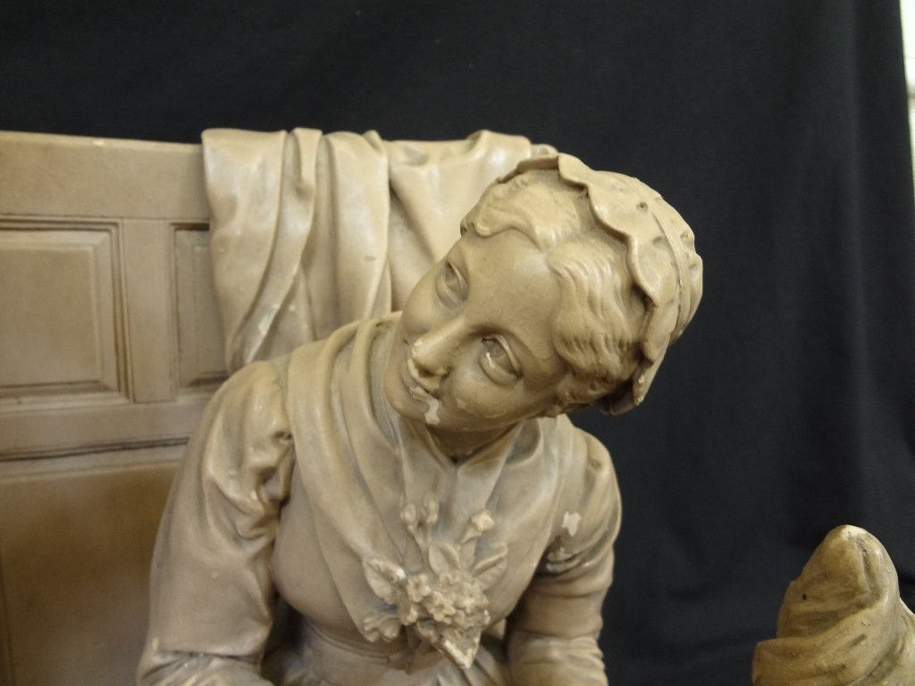"John Rogers Group Plaster Sculpture ""Courtship of Miles - 9"