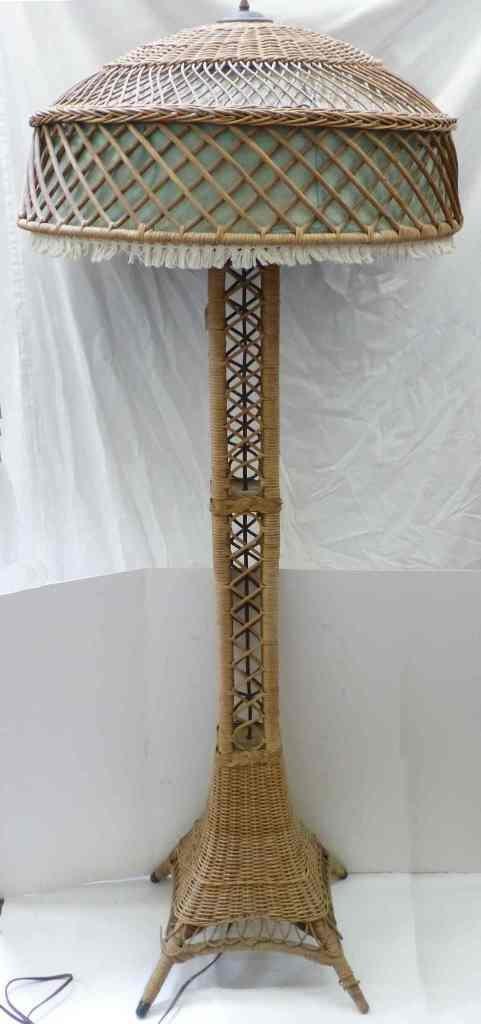 EIFFEL TOWER WICKER FLOOR LAMP c. 1910