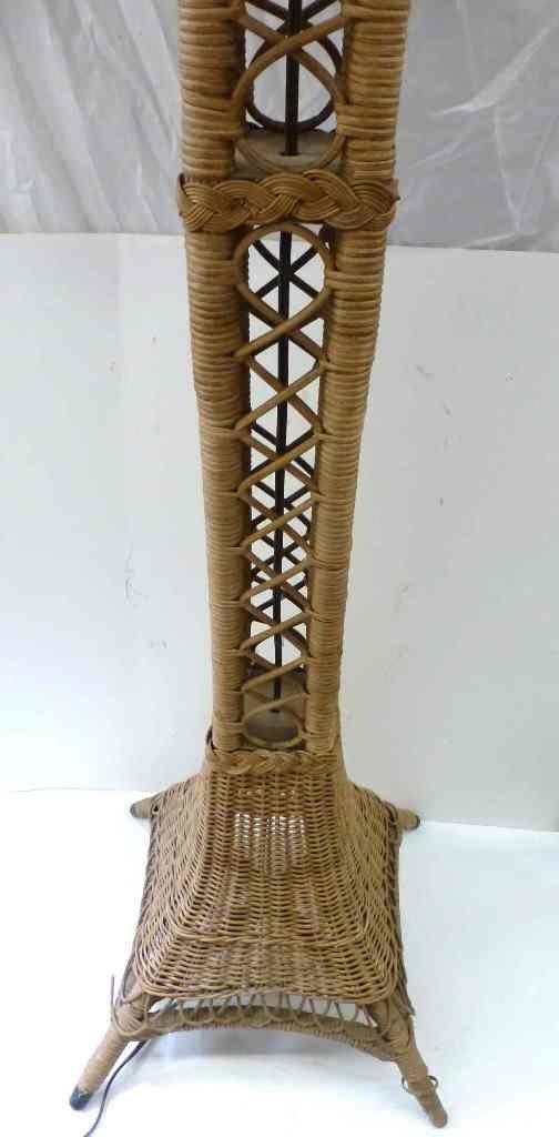 EIFFEL TOWER WICKER FLOOR LAMP c. 1910 - 4