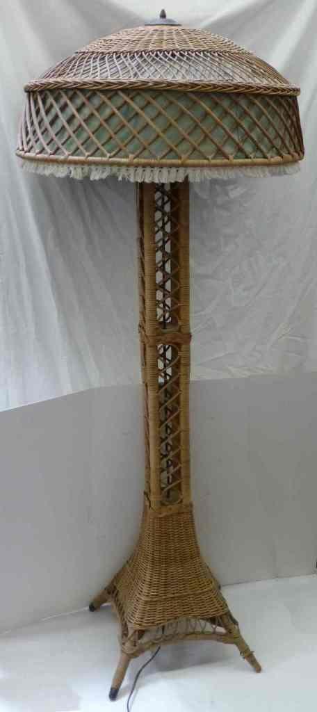EIFFEL TOWER WICKER FLOOR LAMP c. 1910 - 6