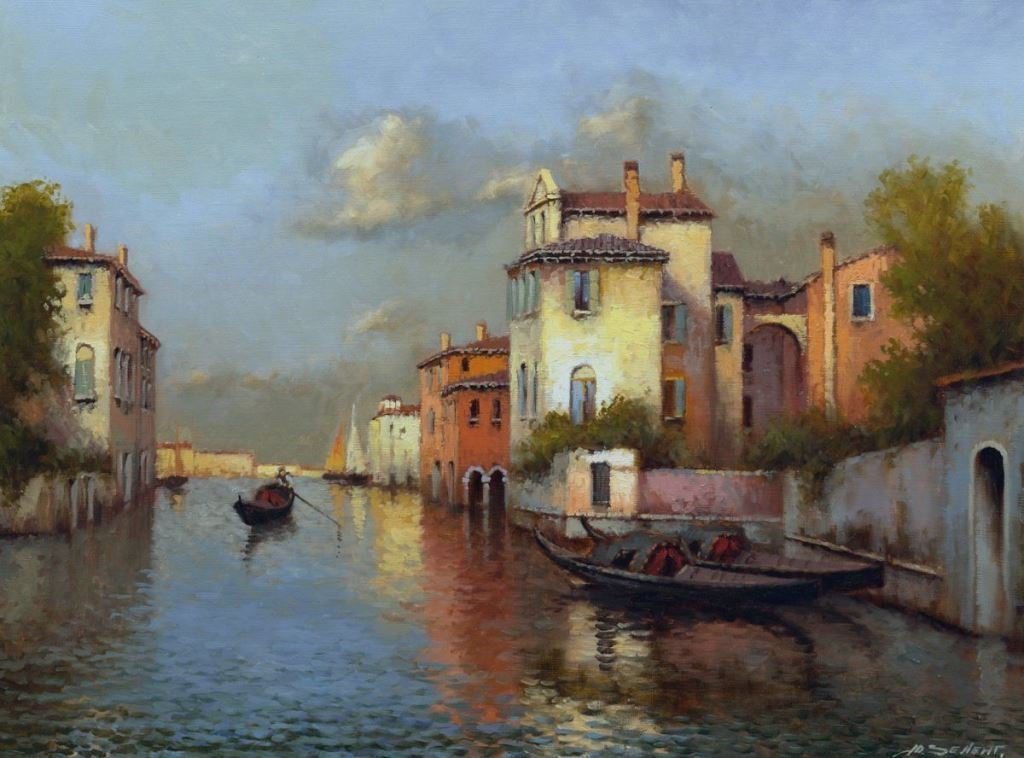 Yuri Zeleng (Russian, b. 1959) Venice. Gondolas, Oil On