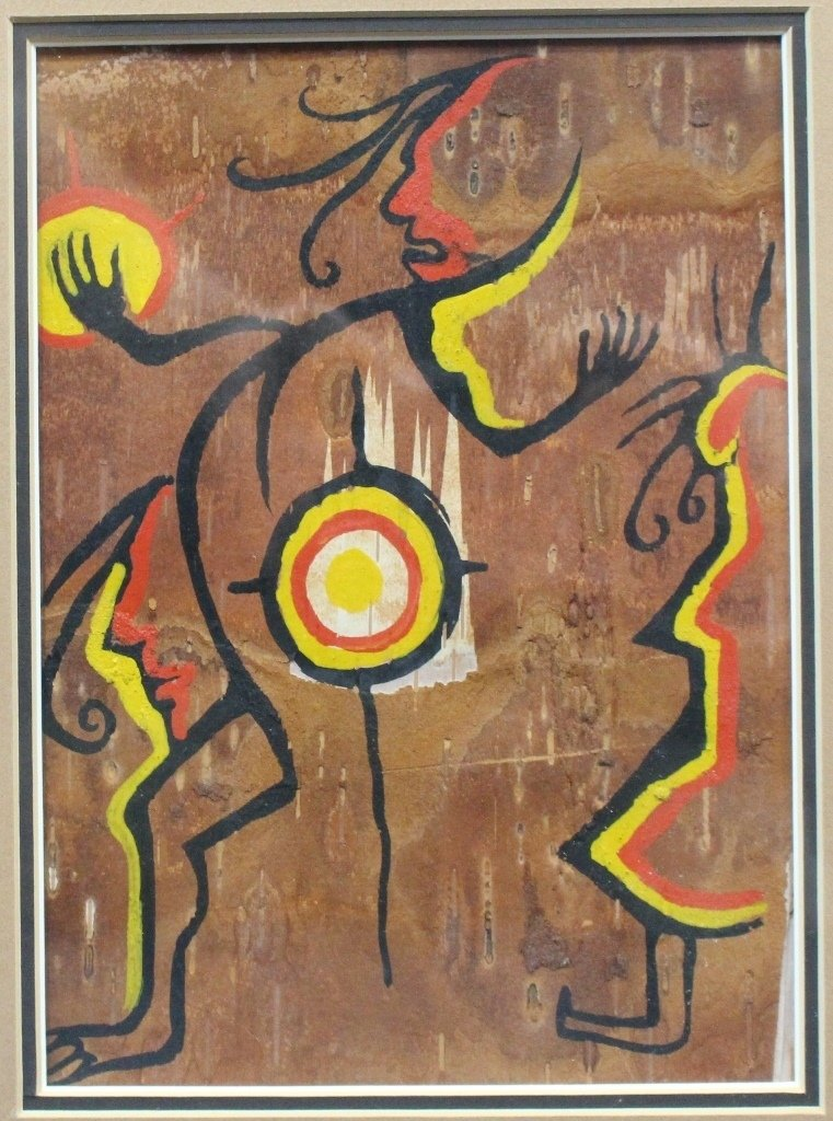 Spirit Painting on Birch Bark by First Nations Artist
