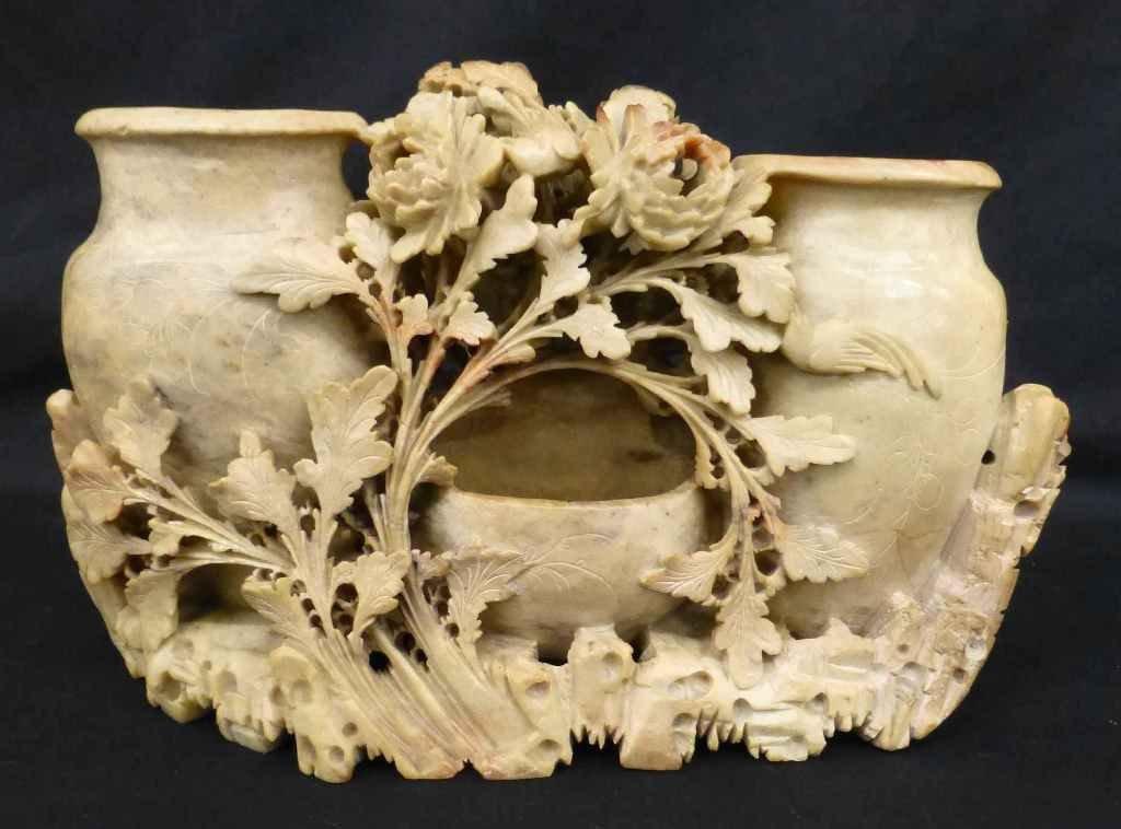 Large Carved Soapstone Figural Vase