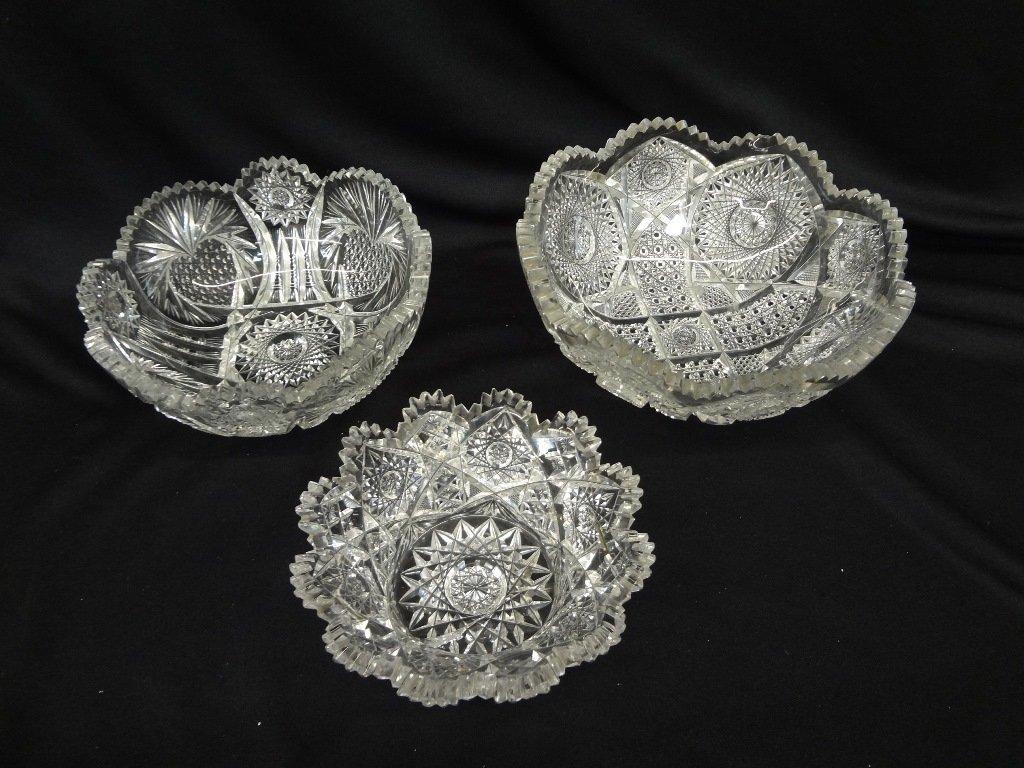 (3) American Brilliant Cut Glass Bowls