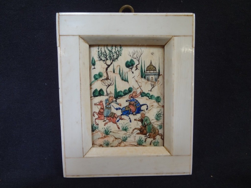 Persian and Bone Etched and Hand Painted Miniature - 2