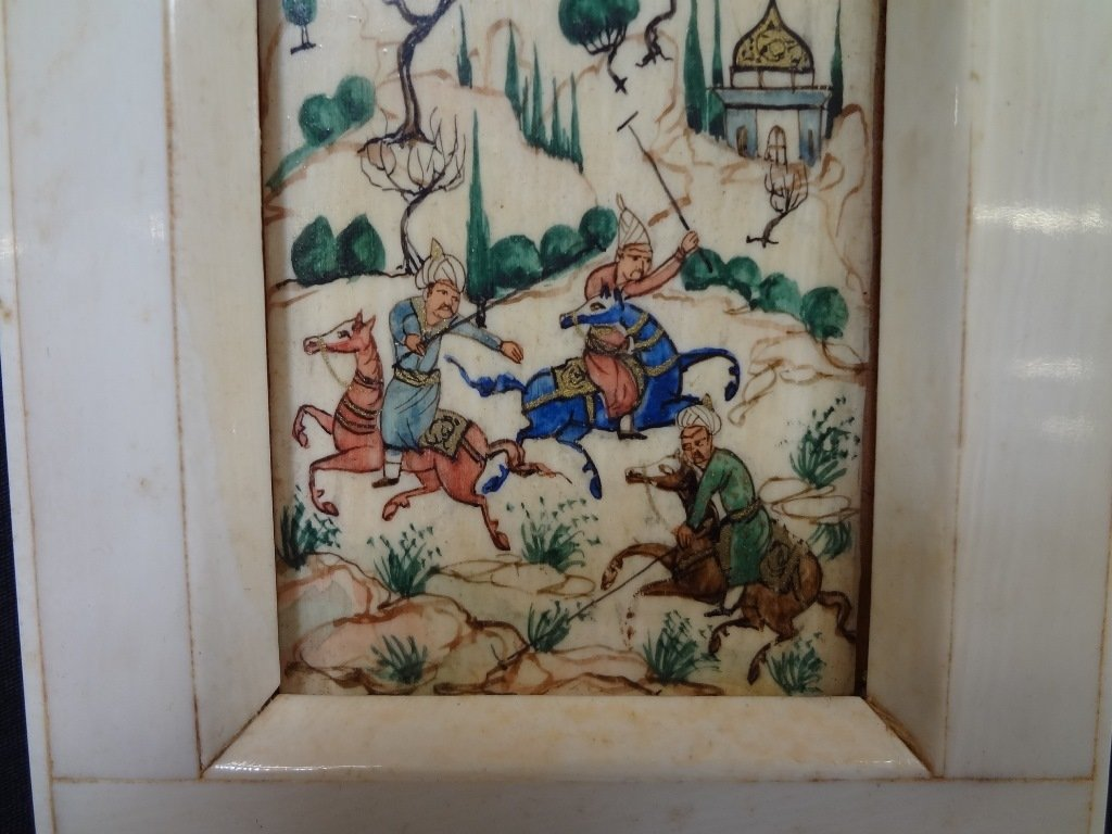 Persian and Bone Etched and Hand Painted Miniature - 3