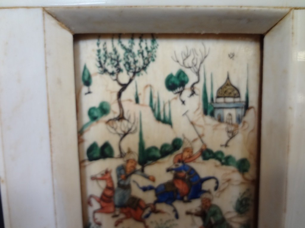 Persian and Bone Etched and Hand Painted Miniature - 4