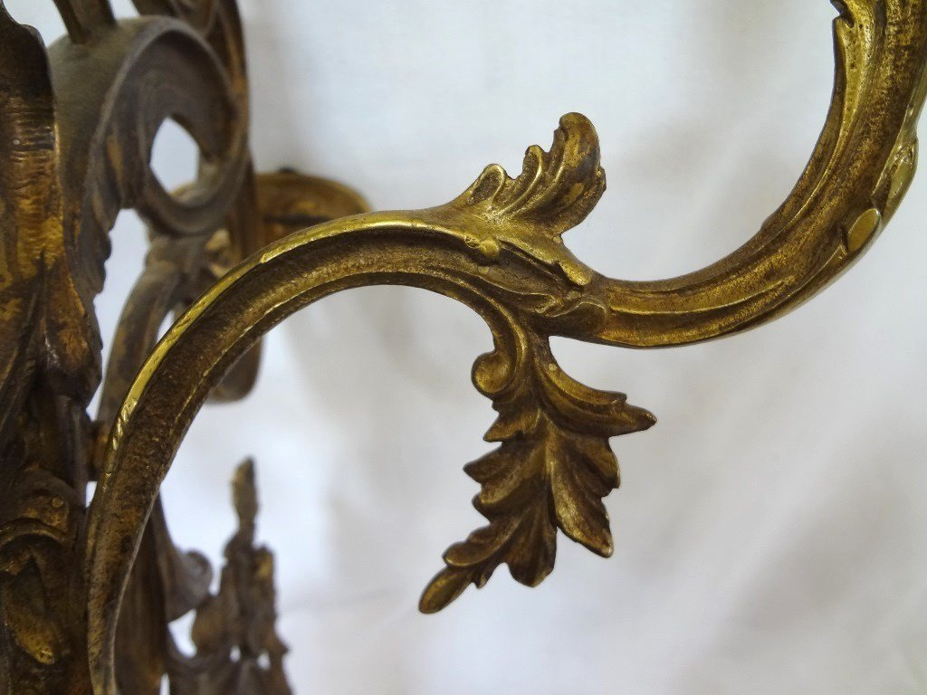 (3) Arm Brass Candle Wall Sconce - 4