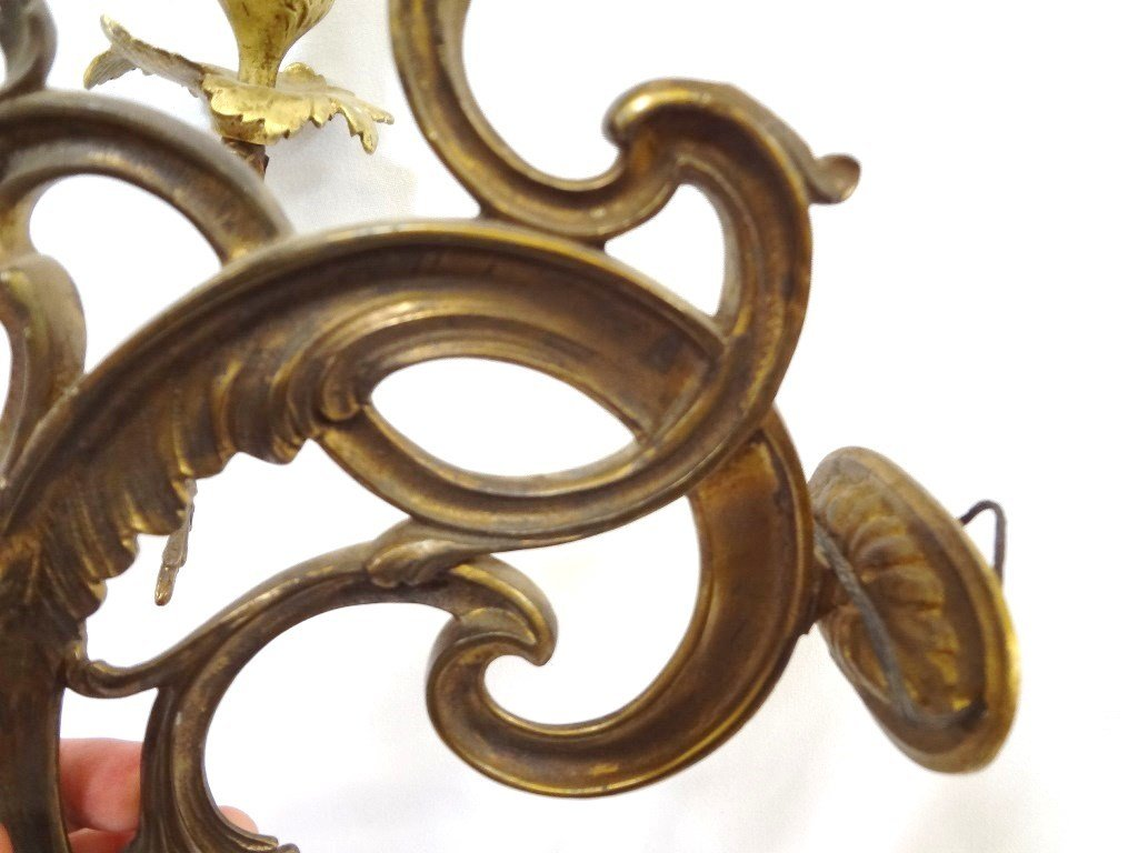 (3) Arm Brass Candle Wall Sconce - 5