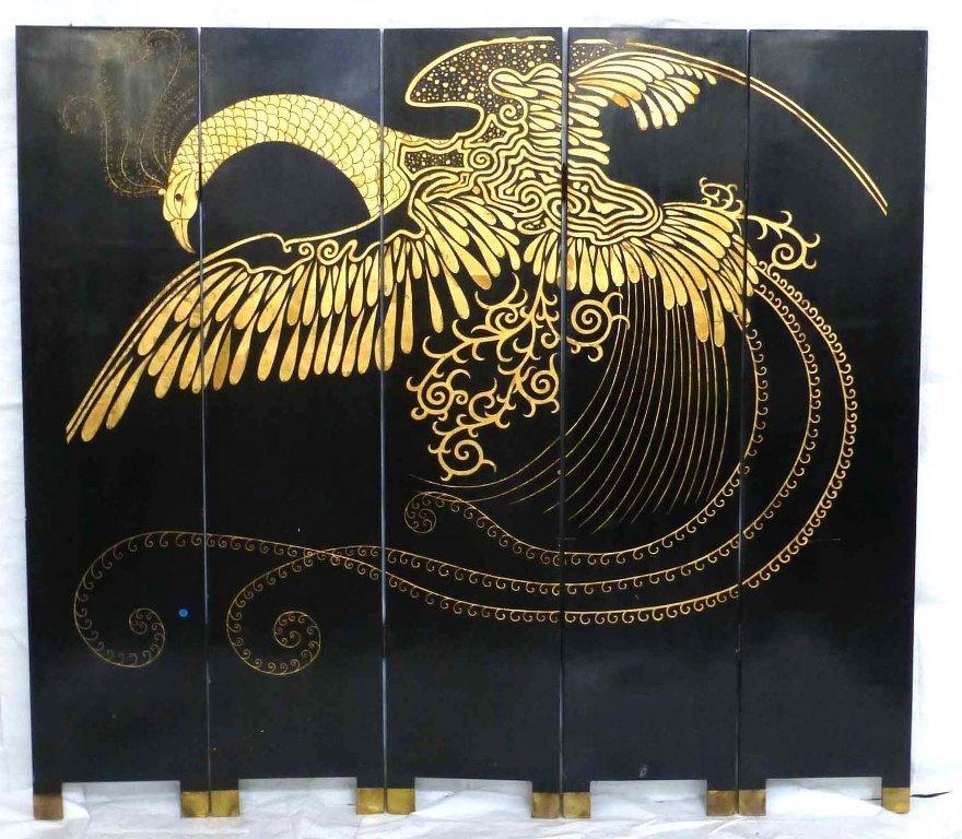 Feng huang Phoenix Coromandel Screen 5 Panel Divider