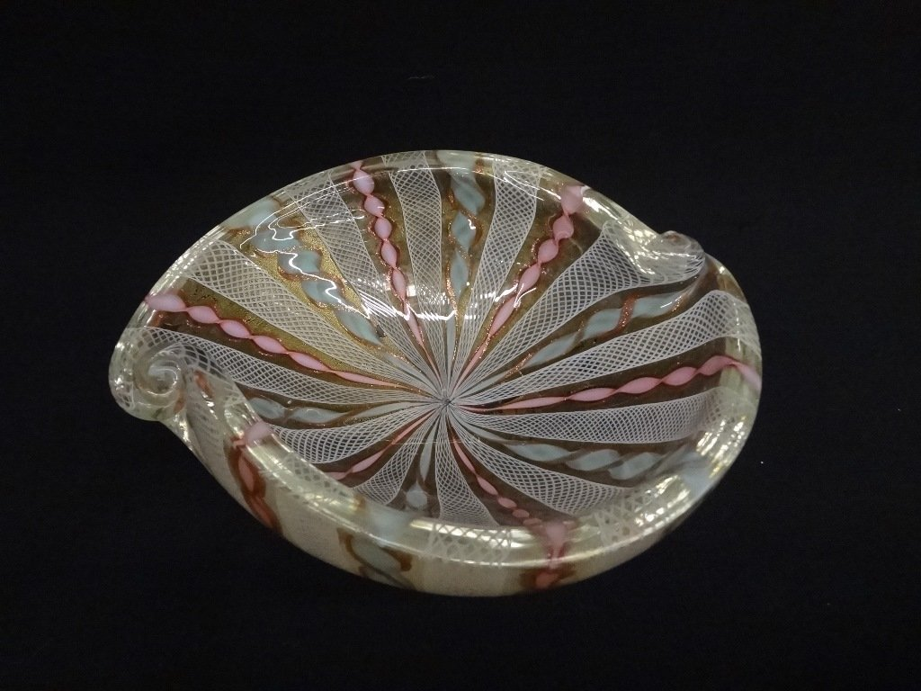 After Murano Swirl Art Glass Dish