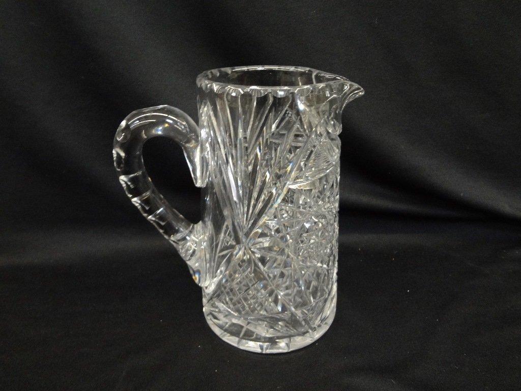 American Brilliant Cut Glass Pitcher Starburst Pattern