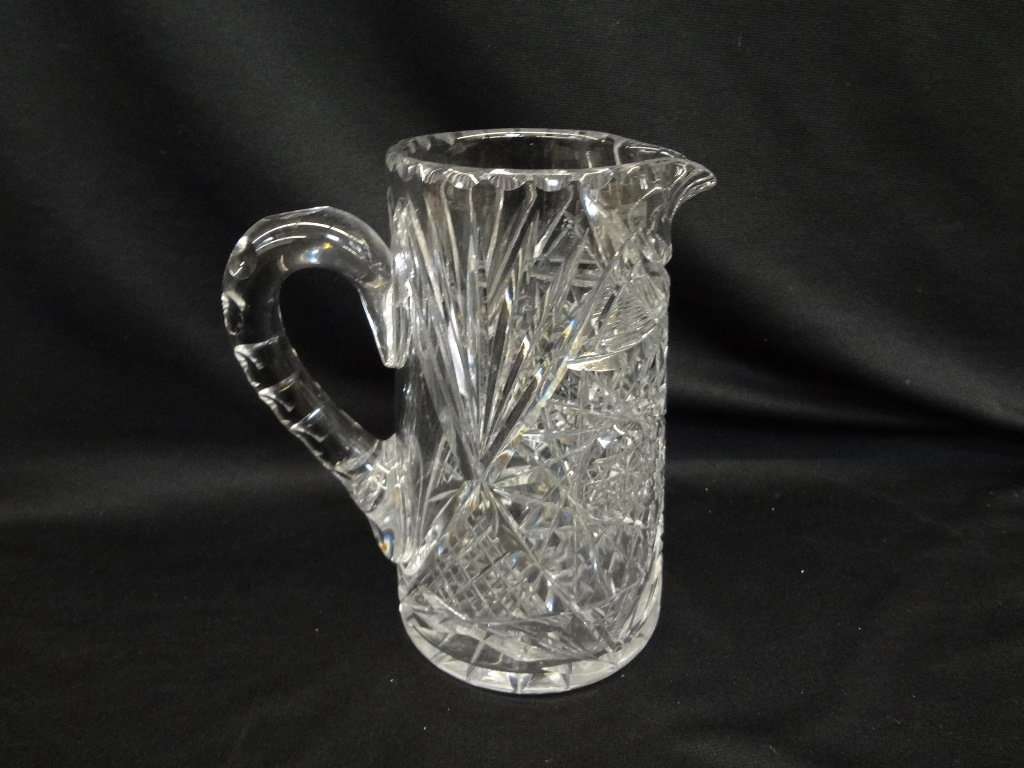 American Brilliant Cut Glass Pitcher Starburst Pattern