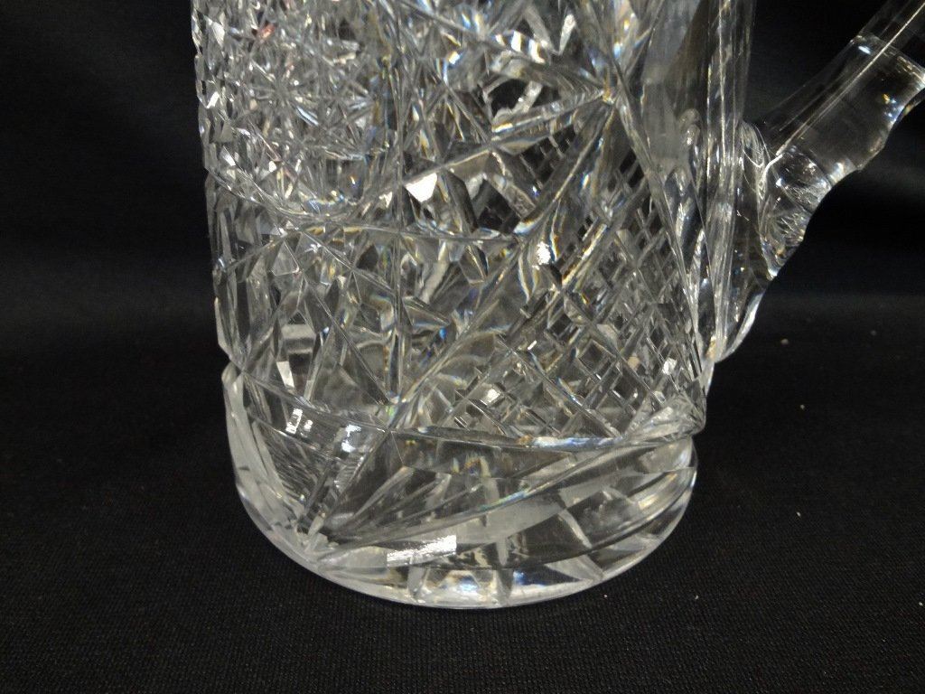 American Brilliant Cut Glass Pitcher Starburst Pattern - 5