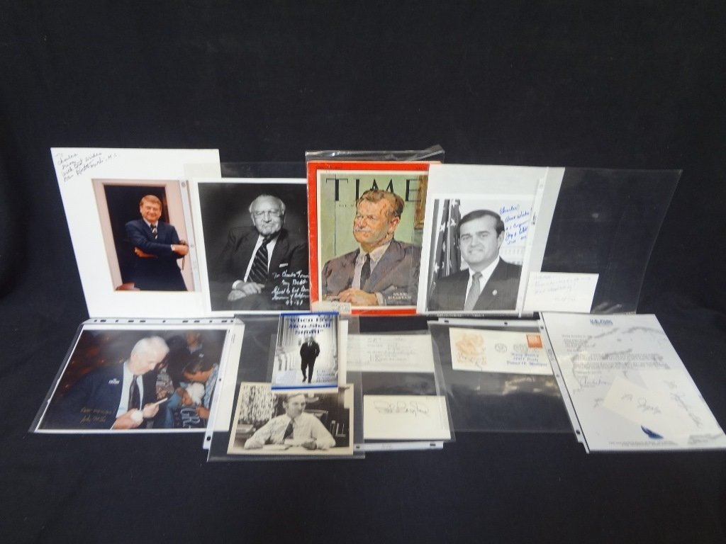 (10) Political Autographed Photos Rockefeller, Helms,