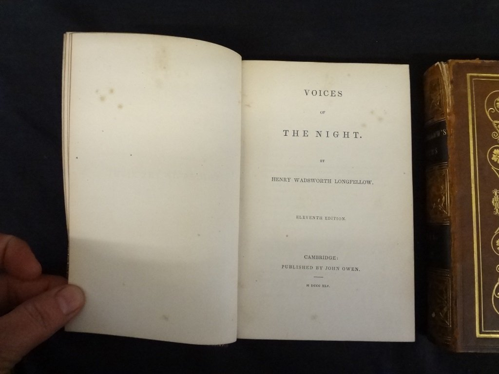 (2) Volumes Longfellow's Poems: Voices of the Night, - 3