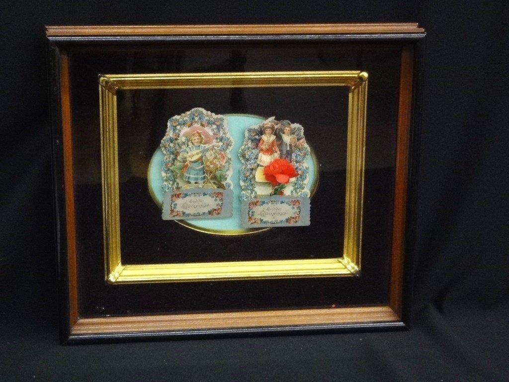 Deep Well Walnut Frame with (2) Victorian German Pop-Up